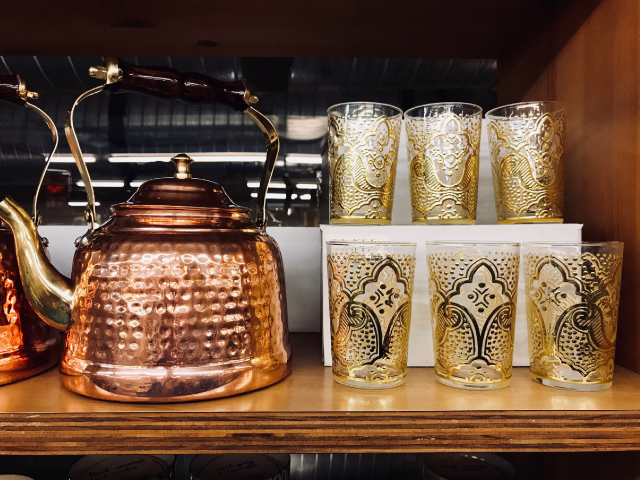 Moroccan Tea Glasses + Copper Kettle