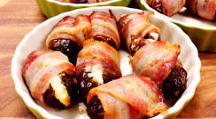 Plump Bacon Wrapped Dates with Chèvre