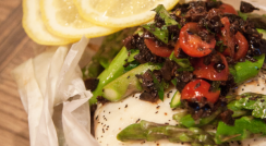 Roasted Halibut in Parchment Paper w/ black olive and tomato relish